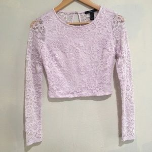 Forever 21 Lilac Lace Long Sleeve Crop Top